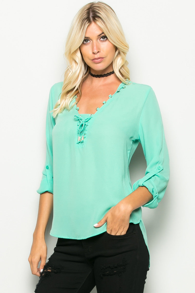 Mint Corset Lace Up Neckline Chiffon Top - Tops - My Yuccie - 2
