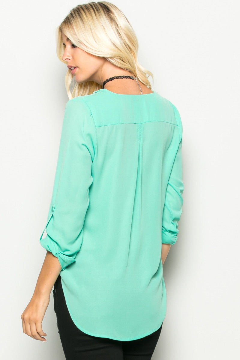 Mint Corset Lace Up Neckline Chiffon Top - Tops - My Yuccie - 4