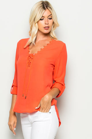 Neon Coral Corset Lace Up Neckline Chiffon Top - Tops - My Yuccie - 1