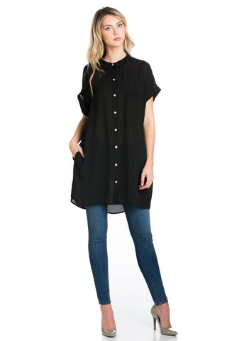 Short Sleeve Longline Button Down Chiffon Top in Black - Tops - My Yuccie - 1