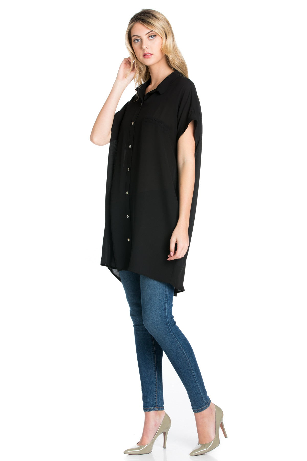 Short Sleeve Longline Button Down Chiffon Top in Midnight Blue - Tops - My Yuccie - 4