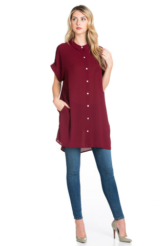 Short Sleeve Longline Button Down Chiffon Top in Burgundy - Tops - My Yuccie - 1