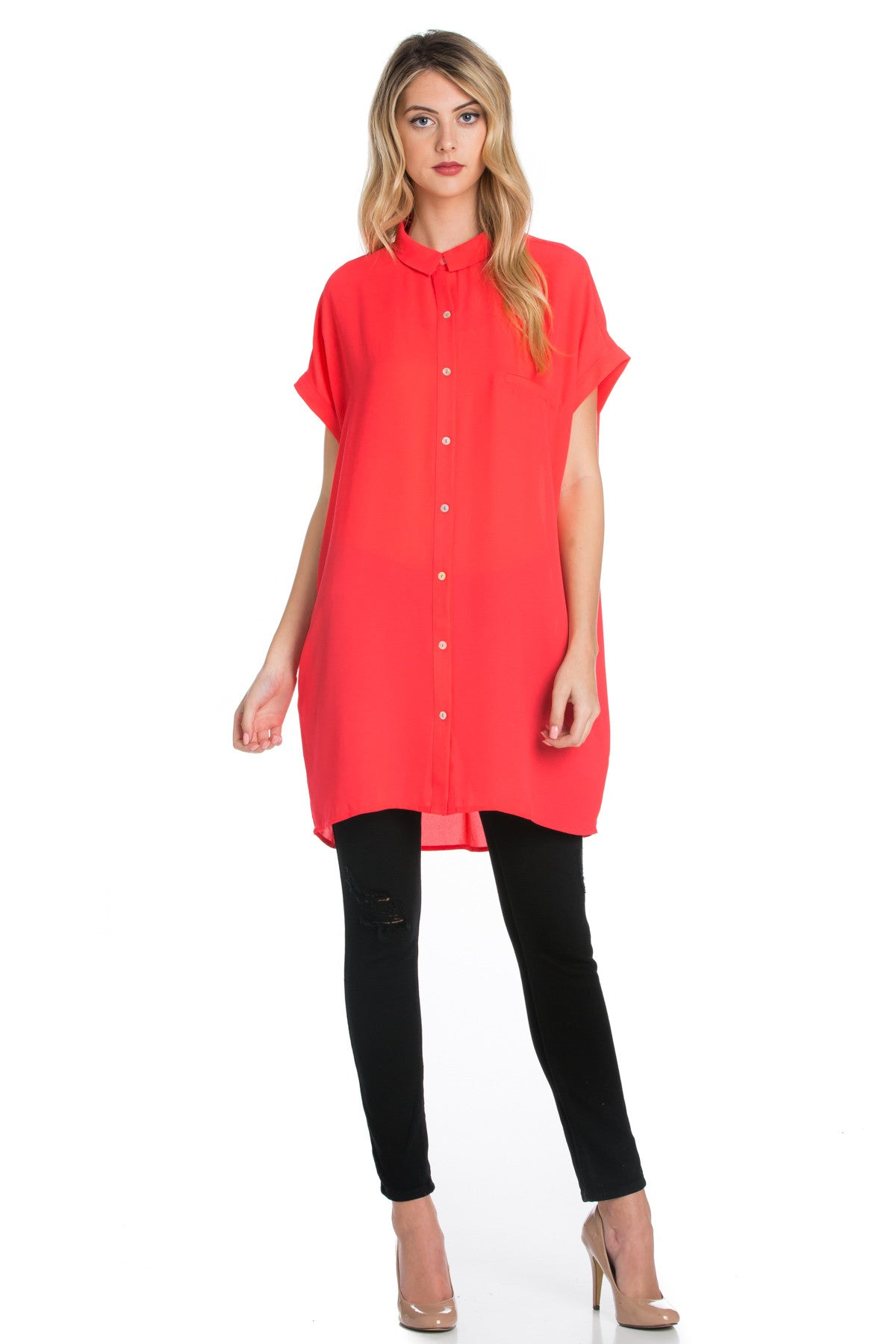 Short Sleeve Longline Button Down Chiffon Top in Coral - Tops - My Yuccie - 1