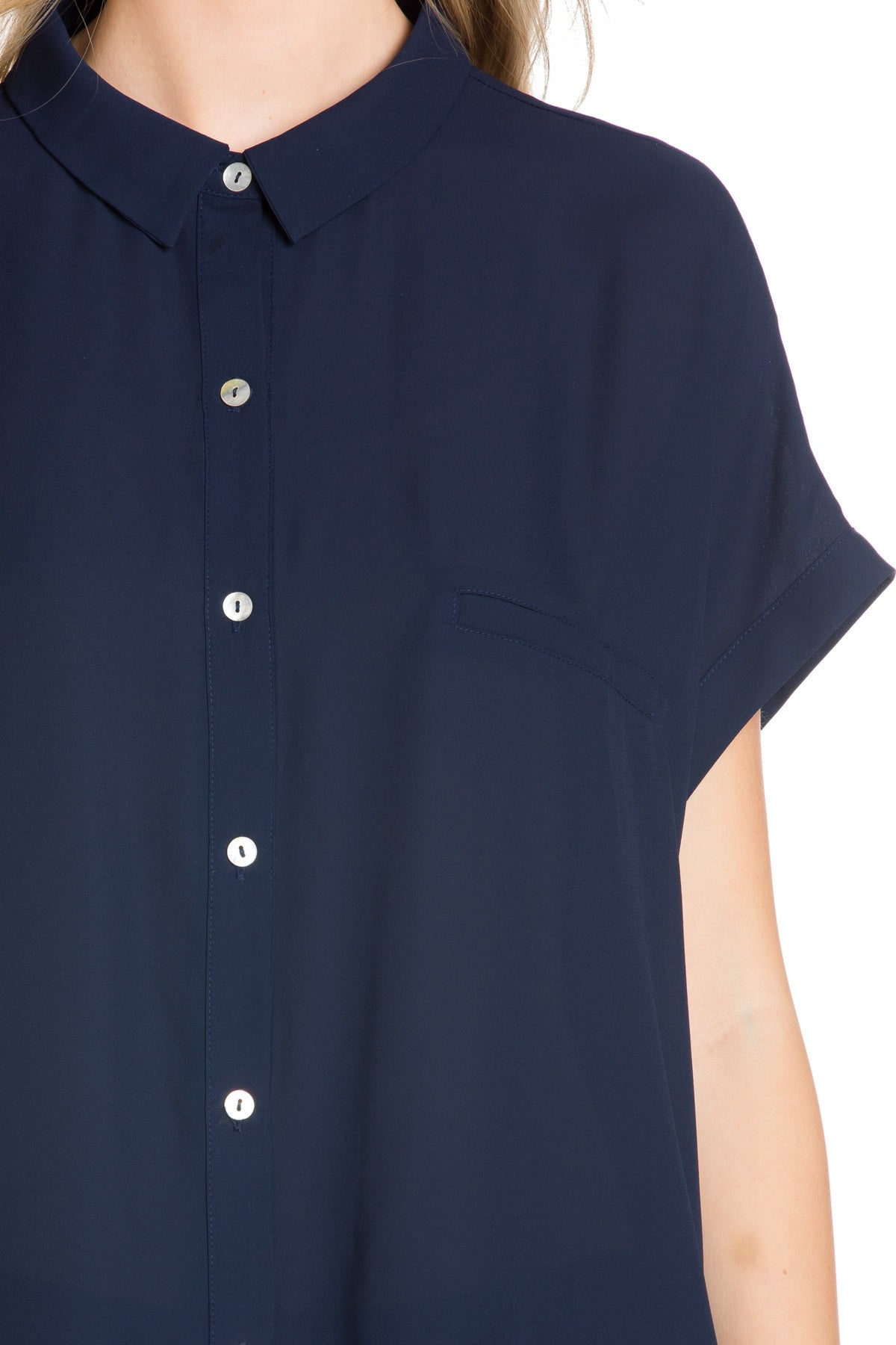 Short Sleeve Longline Button Down Chiffon Top in Midnight Blue ...
