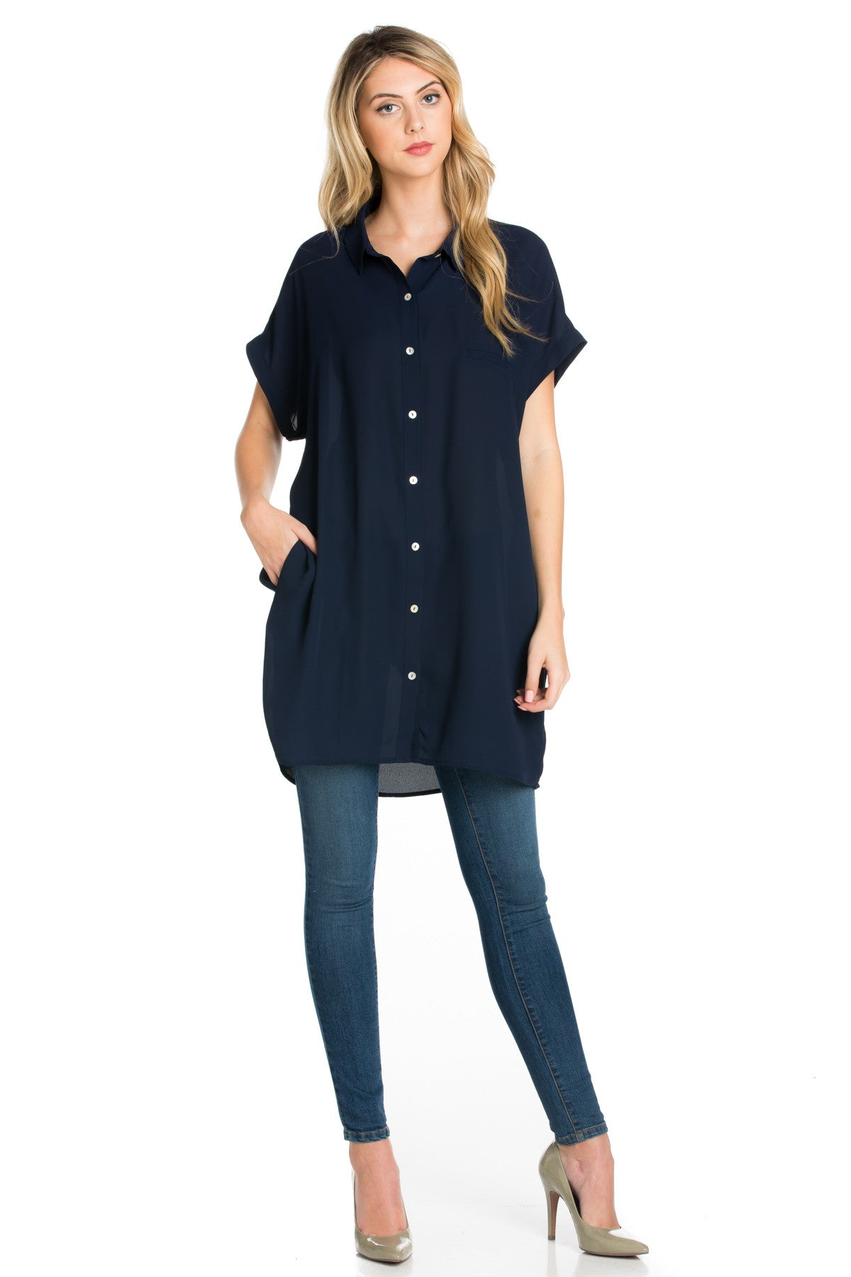 Short Sleeve Longline Button Down Chiffon Top in Midnight Blue - Tops - My Yuccie - 2