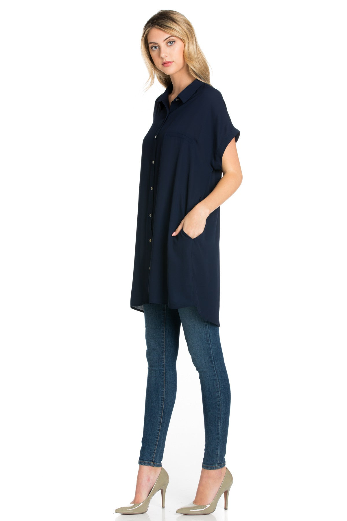 Short Sleeve Longline Button Down Chiffon Top in Midnight Blue - Tops - My Yuccie - 1