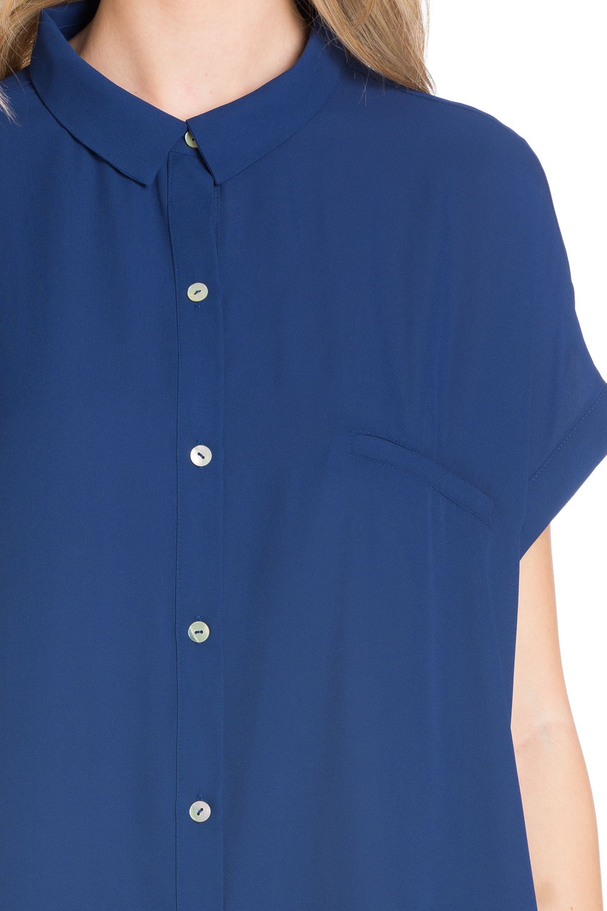 Short Sleeve Longline Button Down Chiffon Top in Navy | My Yuccie
