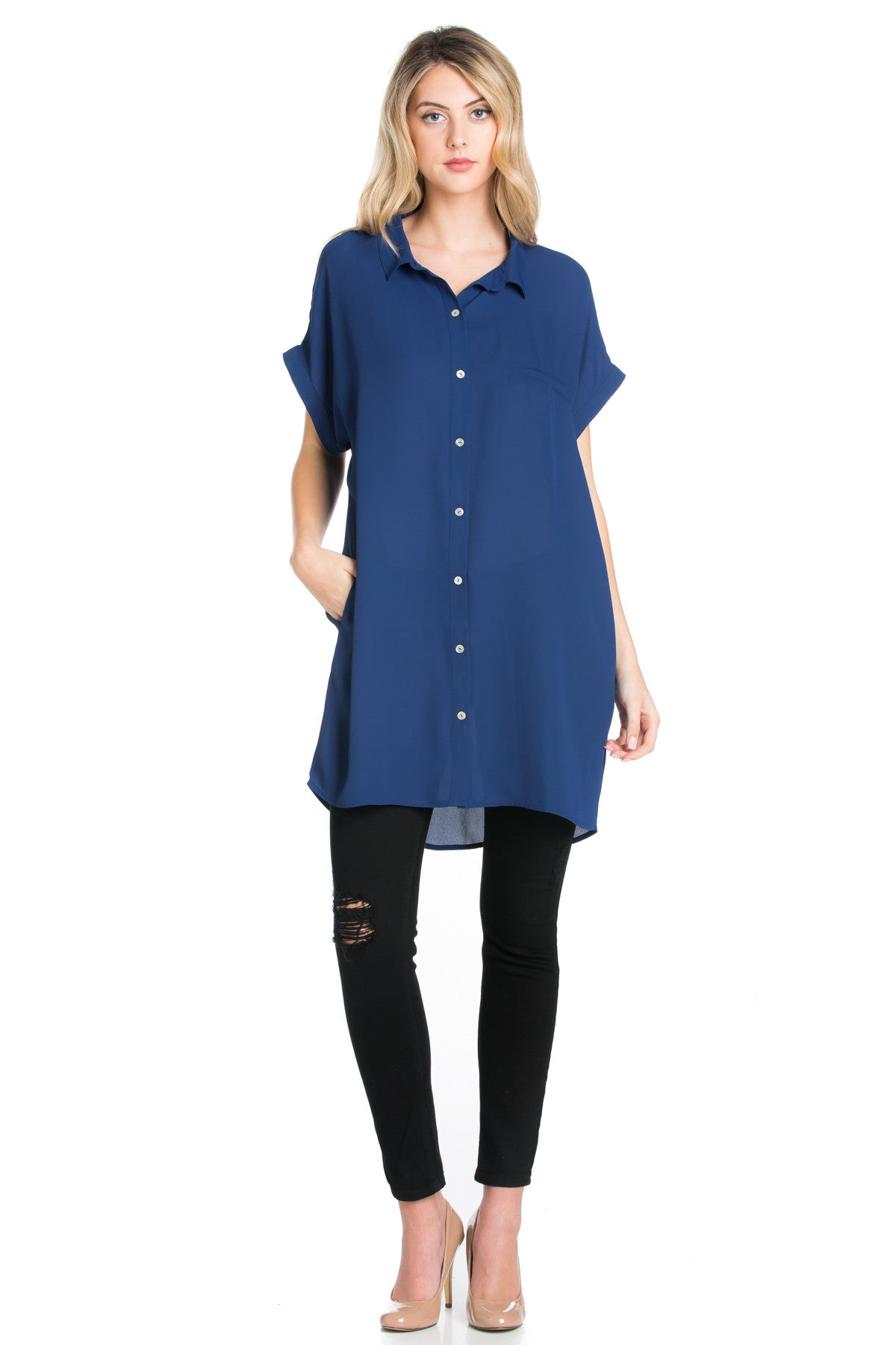 Short Sleeve Longline Button Down Chiffon Top in Midnight Blue - Tops - My Yuccie - 5