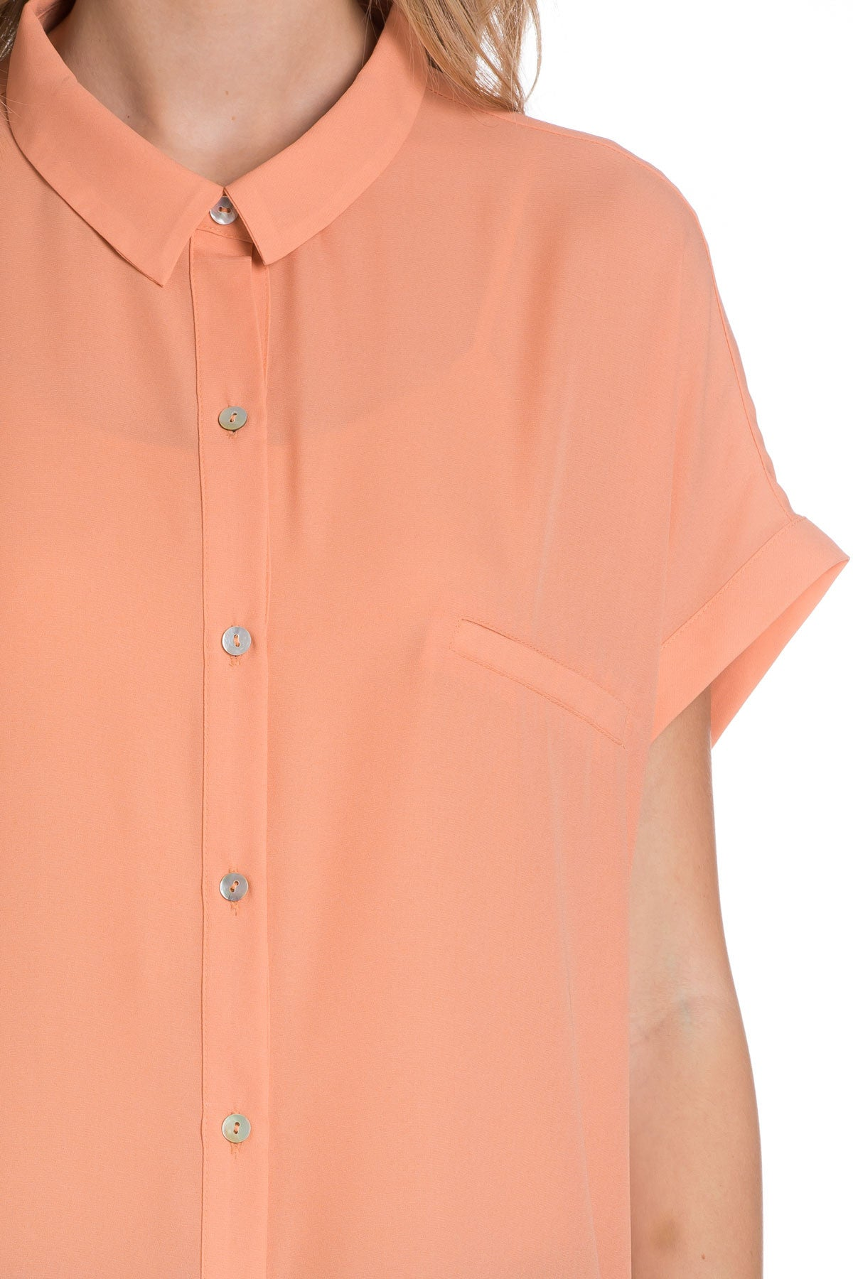 Short Sleeve Longline Button Down Chiffon Top in Peachy - Tops - My Yuccie - 4