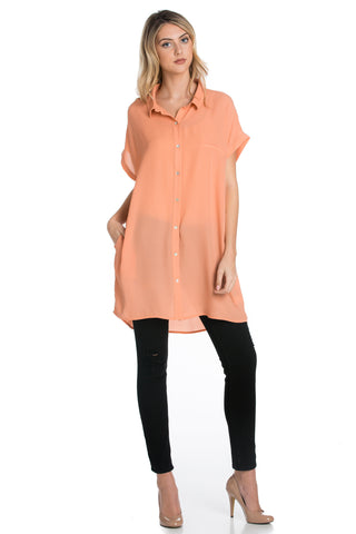 Short Sleeve Longline Button Down Chiffon Top in Peachy - Tops - My Yuccie - 1