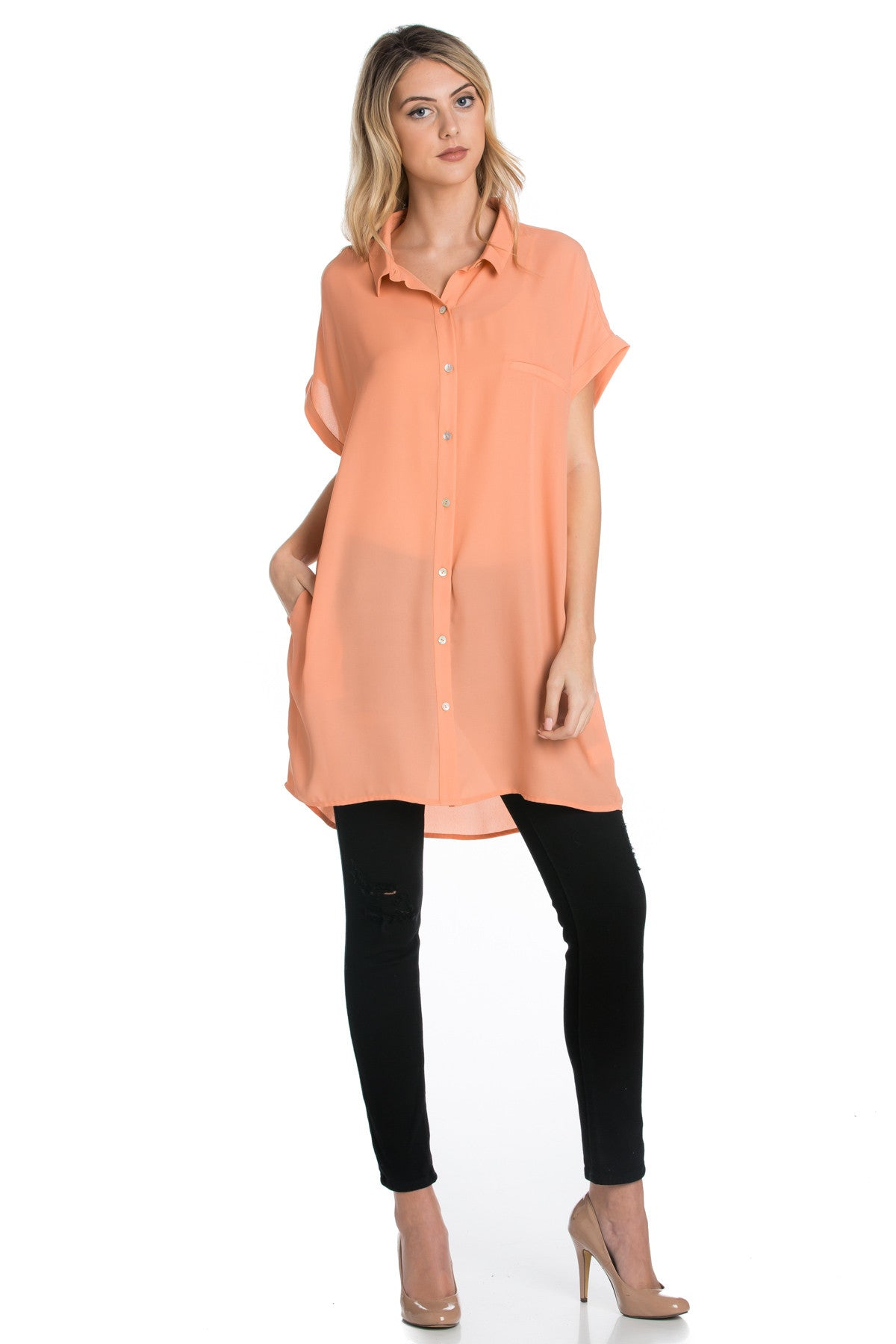 Short Sleeve Longline Button Down Chiffon Top in Sun Coral - Tops - My Yuccie - 12