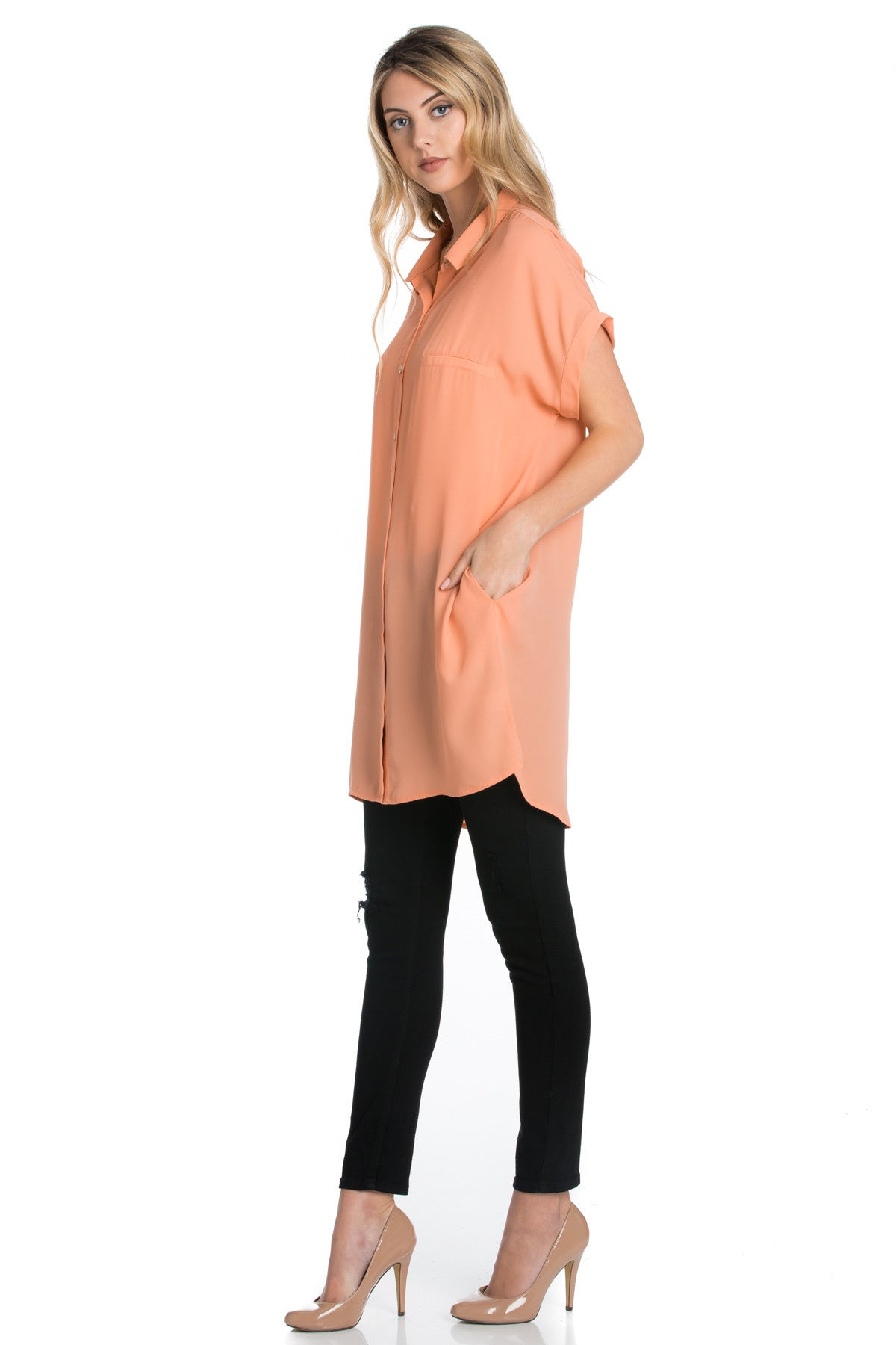 Short Sleeve Longline Button Down Chiffon Top in Peachy - Tops - My Yuccie - 2