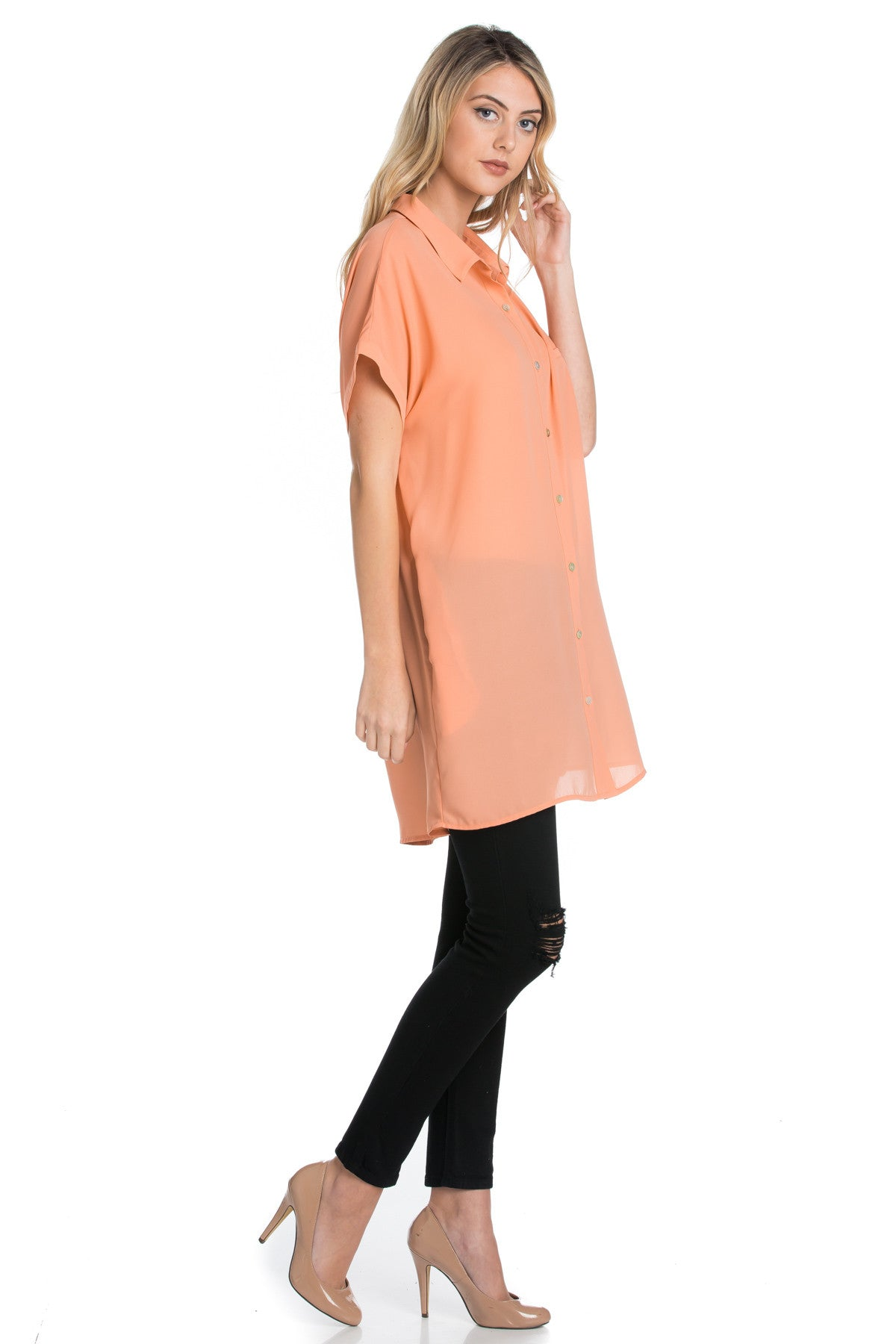 Short Sleeve Longline Button Down Chiffon Top in Peachy - Tops - My Yuccie - 5