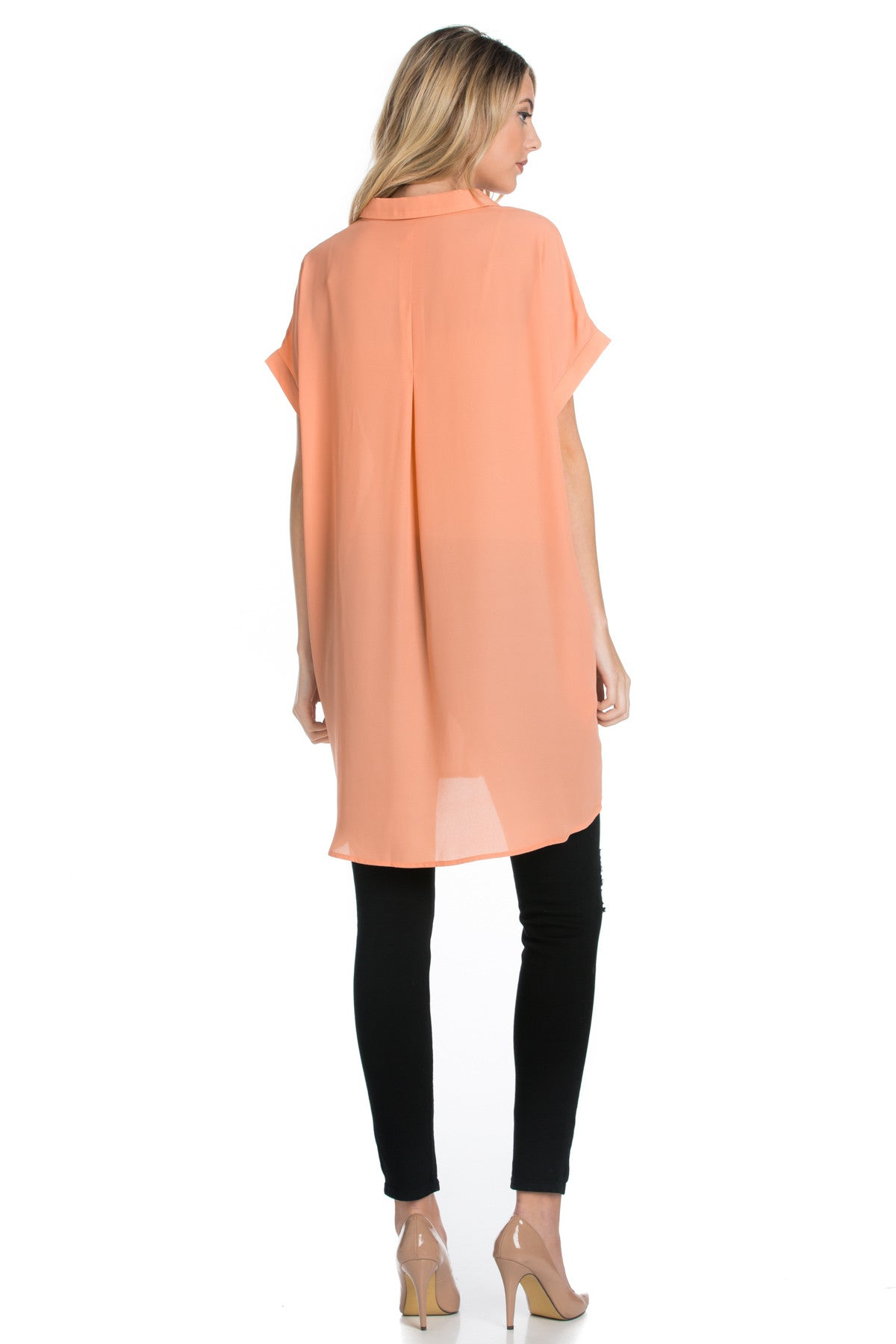 Short Sleeve Longline Button Down Chiffon Top in Peachy - Tops - My Yuccie - 3