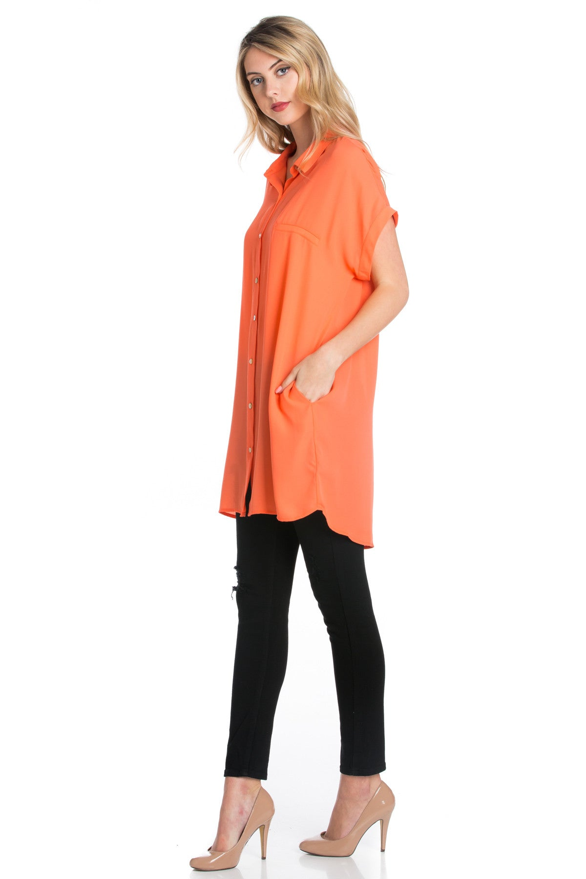 Short Sleeve Longline Button Down Chiffon Top in Sun Coral - Tops - My Yuccie - 6