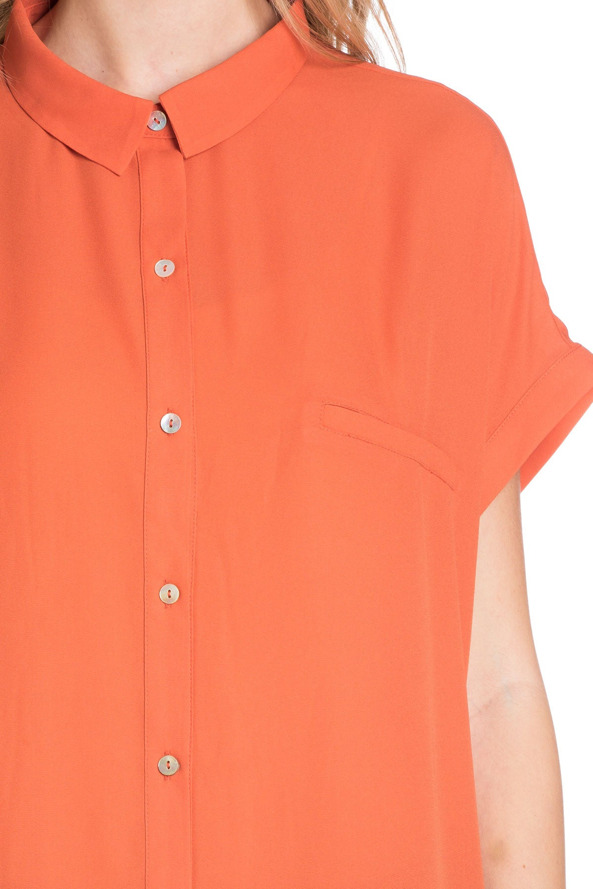 Short Sleeve Longline Button Down Chiffon Top in Sun Coral - Tops - My Yuccie - 13
