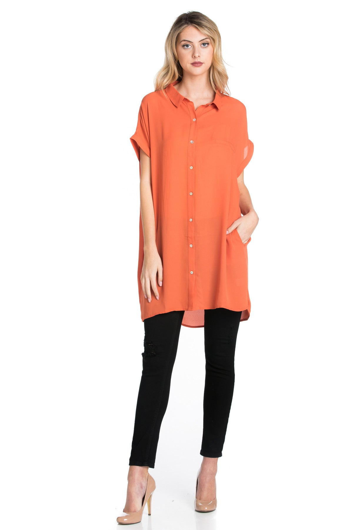 Short Sleeve Longline Button Down Chiffon Top in Sun Coral - Tops - My Yuccie - 1