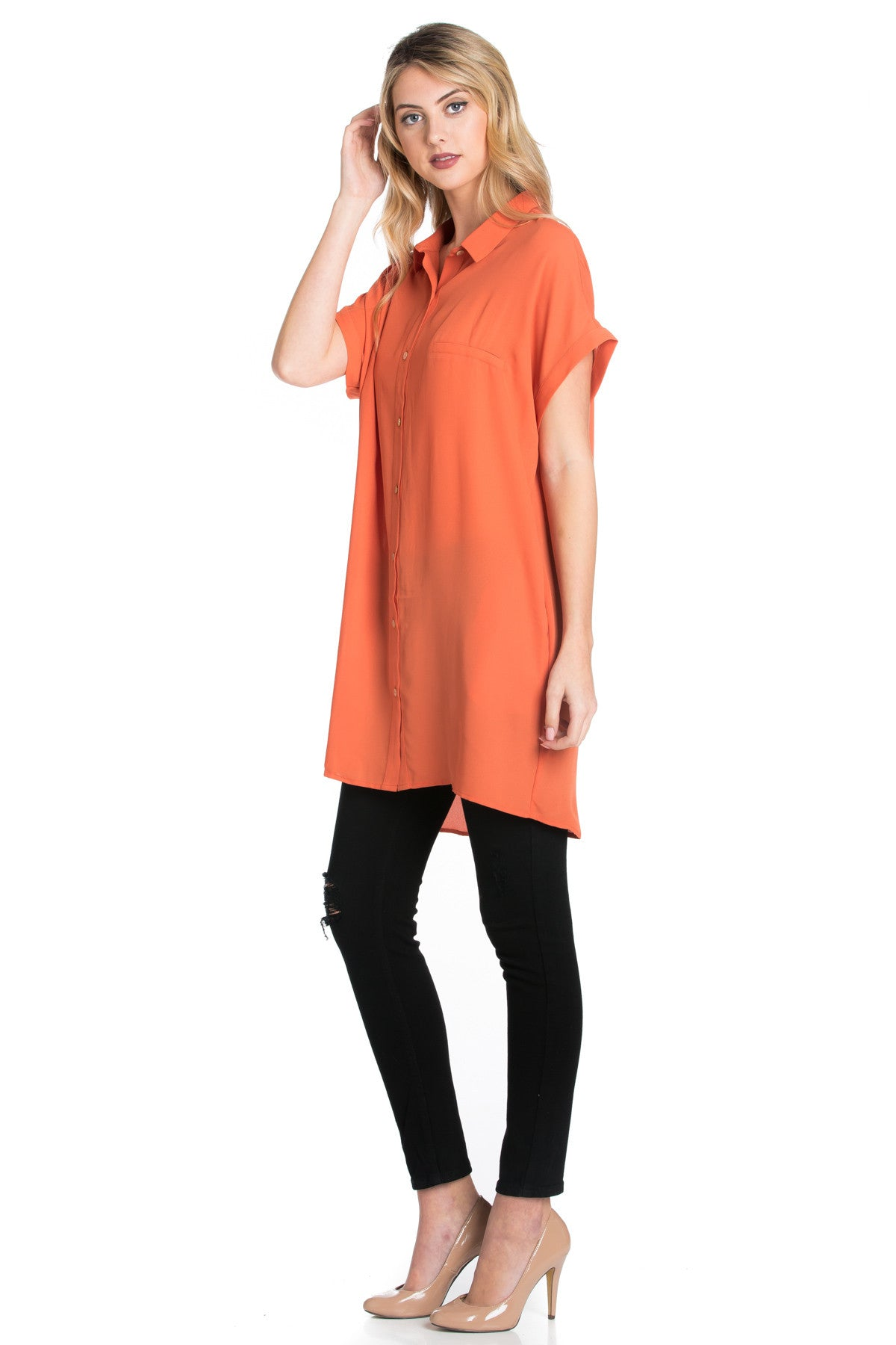 Short Sleeve Longline Button Down Chiffon Top in Sun Coral - Tops - My Yuccie - 2