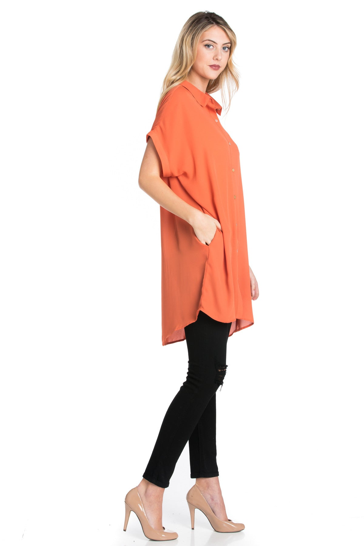 Short Sleeve Longline Button Down Chiffon Top in Sun Coral - Tops - My Yuccie - 14