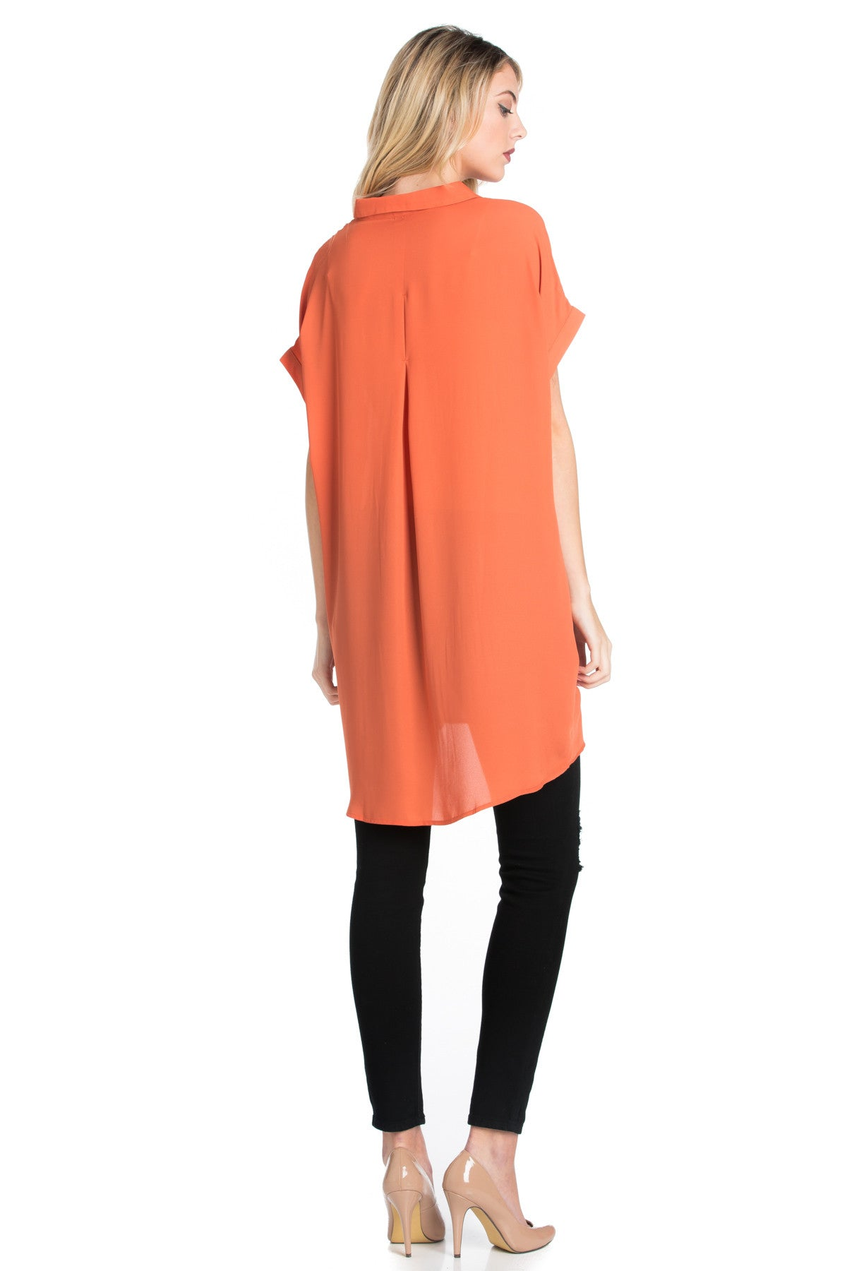 Short Sleeve Longline Button Down Chiffon Top in Sun Coral - Tops - My Yuccie - 15