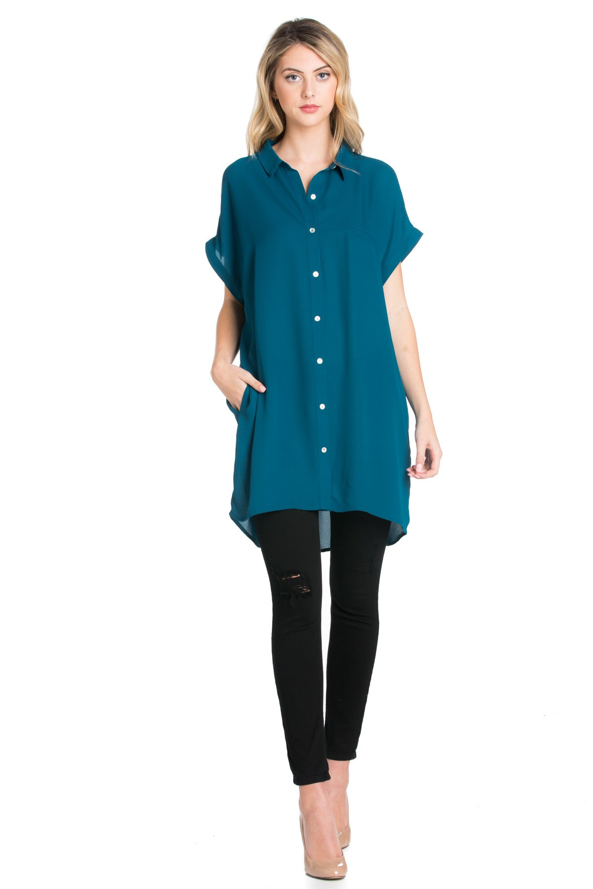 Short Sleeve Longline Button Down Chiffon Top in Teal - Tops - My Yuccie - 1