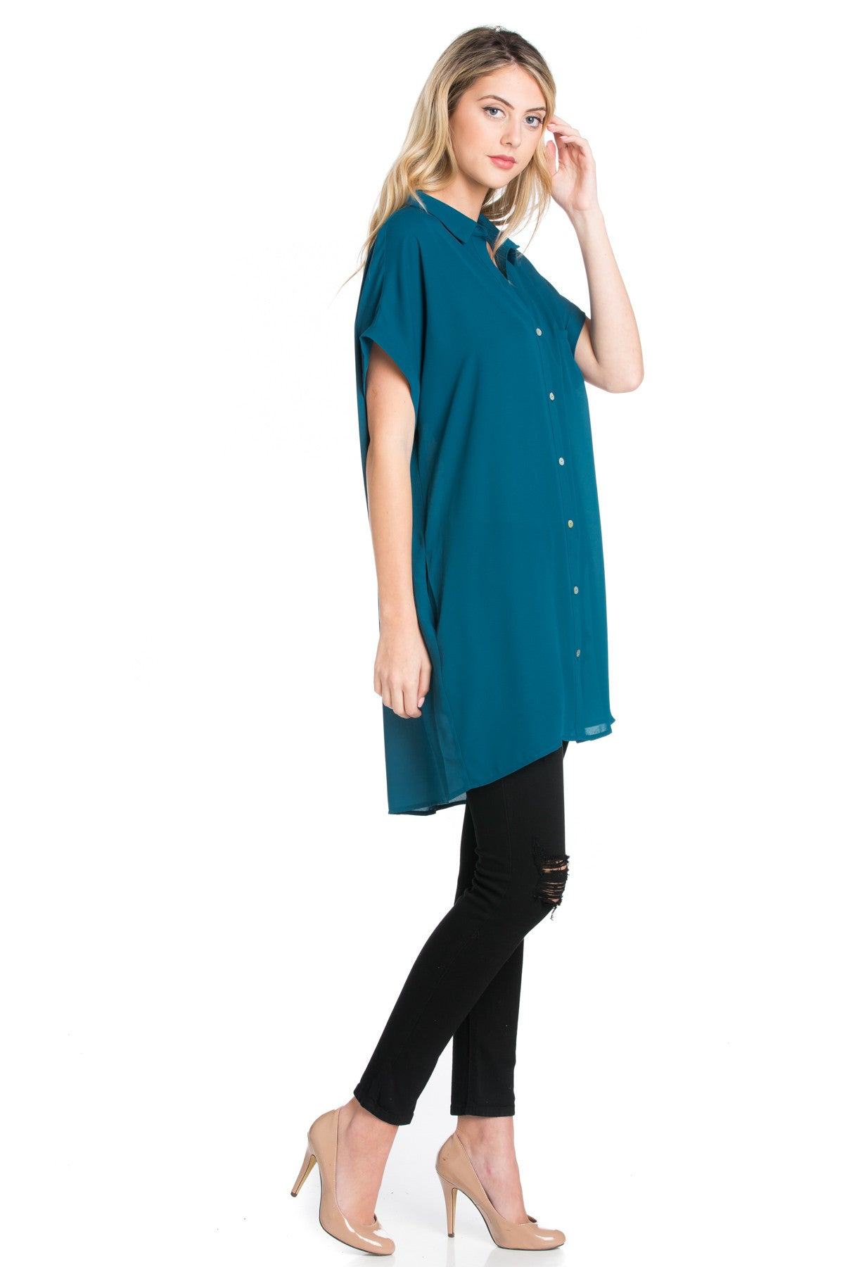 Short Sleeve Longline Button Down Chiffon Top in Teal - Tops - My Yuccie - 14