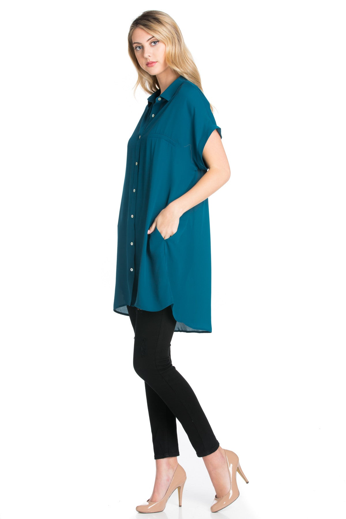 Short Sleeve Longline Button Down Chiffon Top in Teal - Tops - My Yuccie - 2