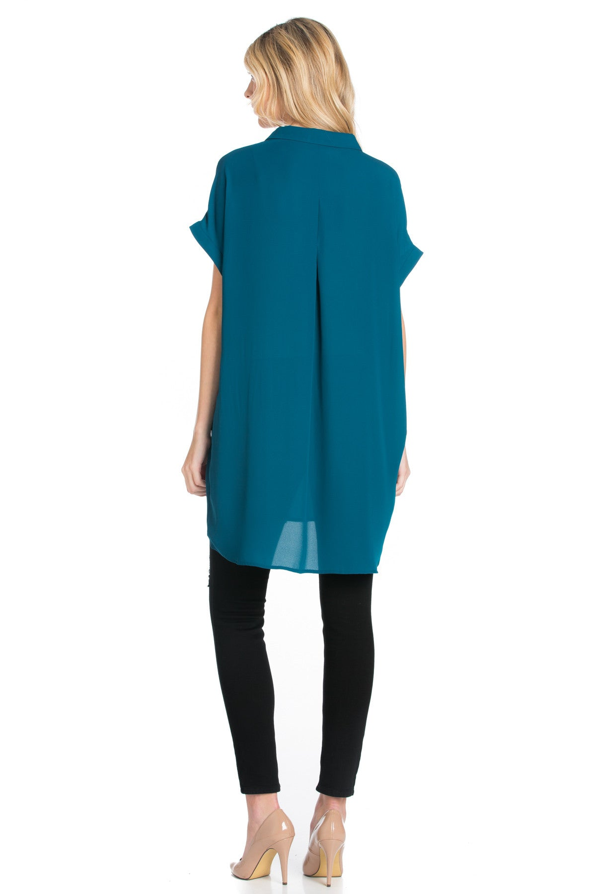 Short Sleeve Longline Button Down Chiffon Top in Teal - Tops - My Yuccie - 15