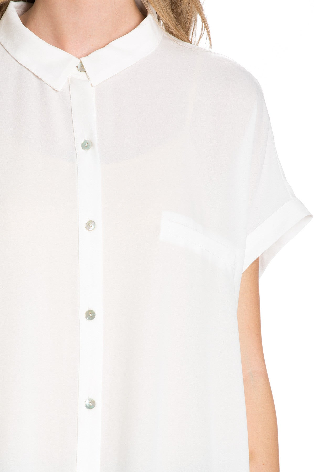 Short Sleeve Longline Button Down Chiffon Top in White - Tops - My Yuccie - 13