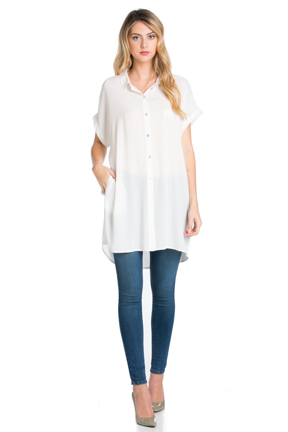 Short Sleeve Longline Button Down Chiffon Top in White - Tops - My Yuccie - 2