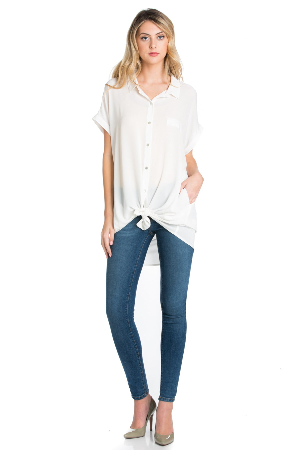 Short Sleeve Longline Button Down Chiffon Top in White - Tops - My Yuccie - 15
