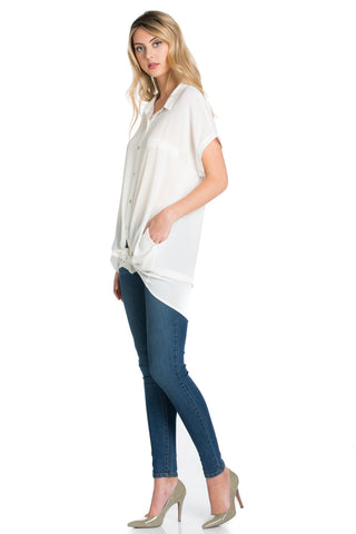 Short Sleeve Longline Button Down Chiffon Top in White - Tops - My Yuccie - 1