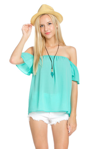 Short Sleeve Off the Shoulder Flowy Mint Top - Tops - My Yuccie - 1