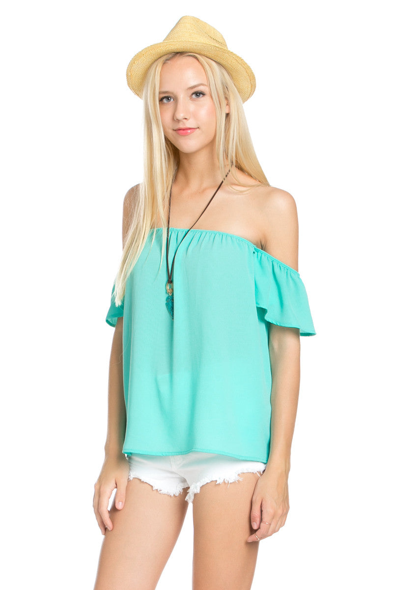 Short Sleeve Off the Shoulder Flowy Mint Top - Tops - My Yuccie - 3