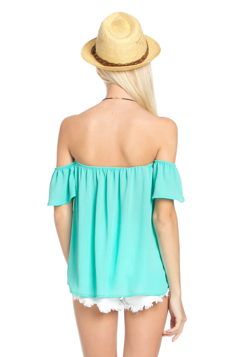 Short Sleeve Off the Shoulder Flowy Mint Top - Tops - My Yuccie - 4