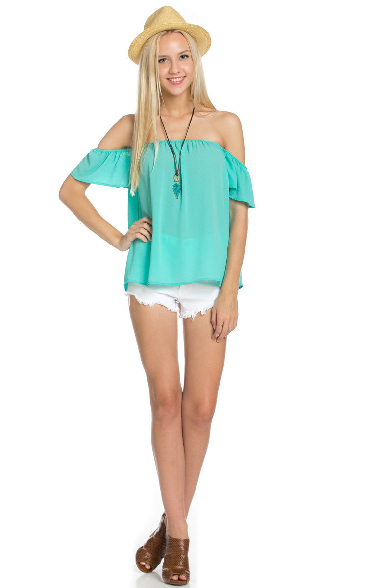 Short Sleeve Off the Shoulder Flowy Mint Top - Tops - My Yuccie - 2