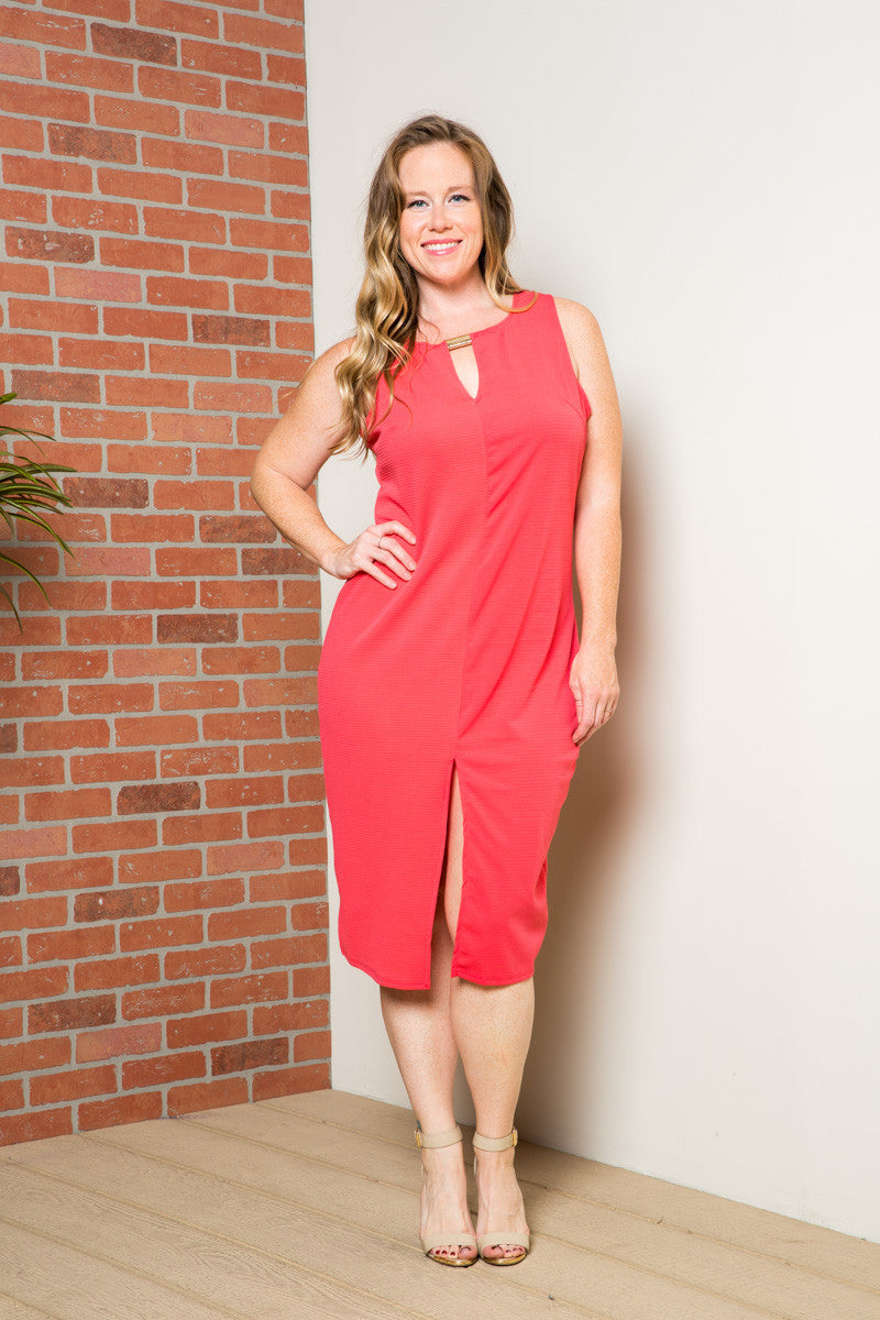 Coral Modest a Bit with Bare Shoulders Dress - Dresses - My Yuccie - 1