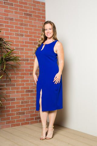 Royal Blue Modest a Bit with Bare Shoulders Dress - Dresses - My Yuccie - 1