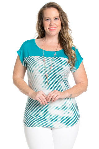 Plus Size Turquoise Tie Dye Stripes Shirt - Blouses - My Yuccie - 1