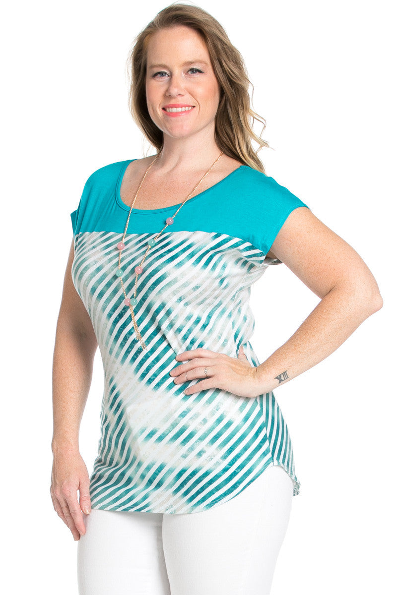 Plus Size Turquoise Tie Dye Stripes Shirt - Blouses - My Yuccie - 2