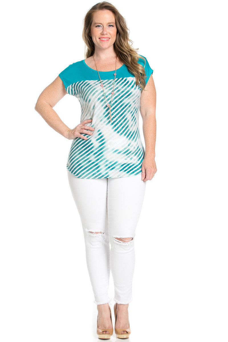 Plus Size Turquoise Tie Dye Stripes Shirt - Blouses - My Yuccie - 4