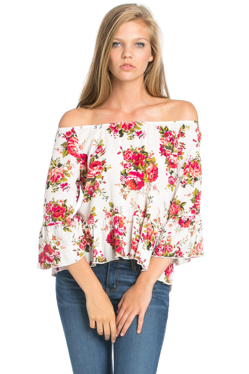 Peplum Off the Shoulder White Rose Print Top -  - My Yuccie - 1