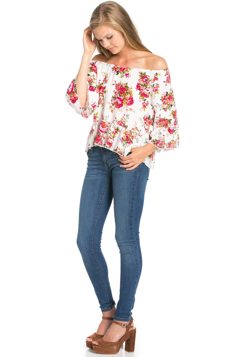 Peplum Off the Shoulder White Rose Print Top -  - My Yuccie - 4