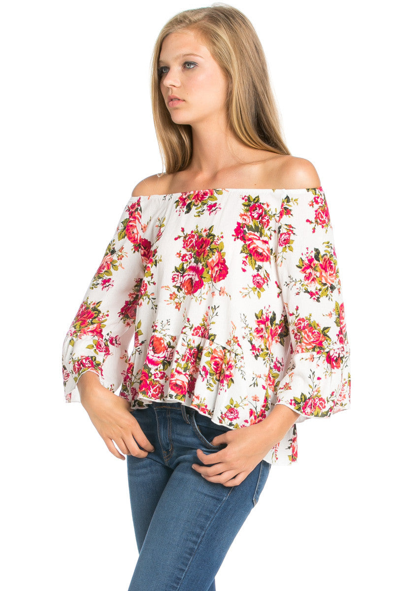 Peplum Off the Shoulder White Rose Print Top -  - My Yuccie - 2