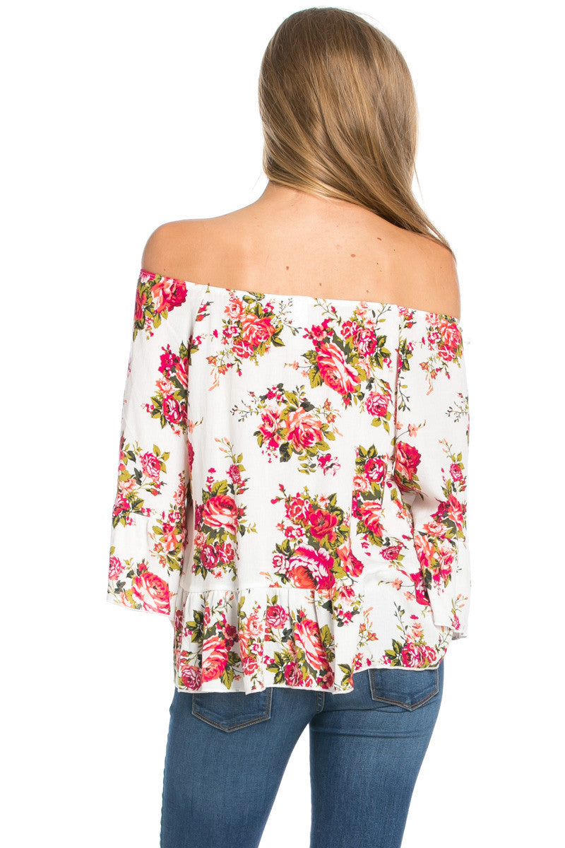 Peplum Off the Shoulder White Rose Print Top -  - My Yuccie - 3