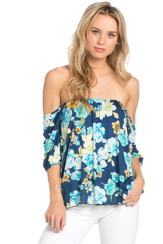 Rosey Print Off the Shoulder Aqua Blouse - Blouses - My Yuccie - 1