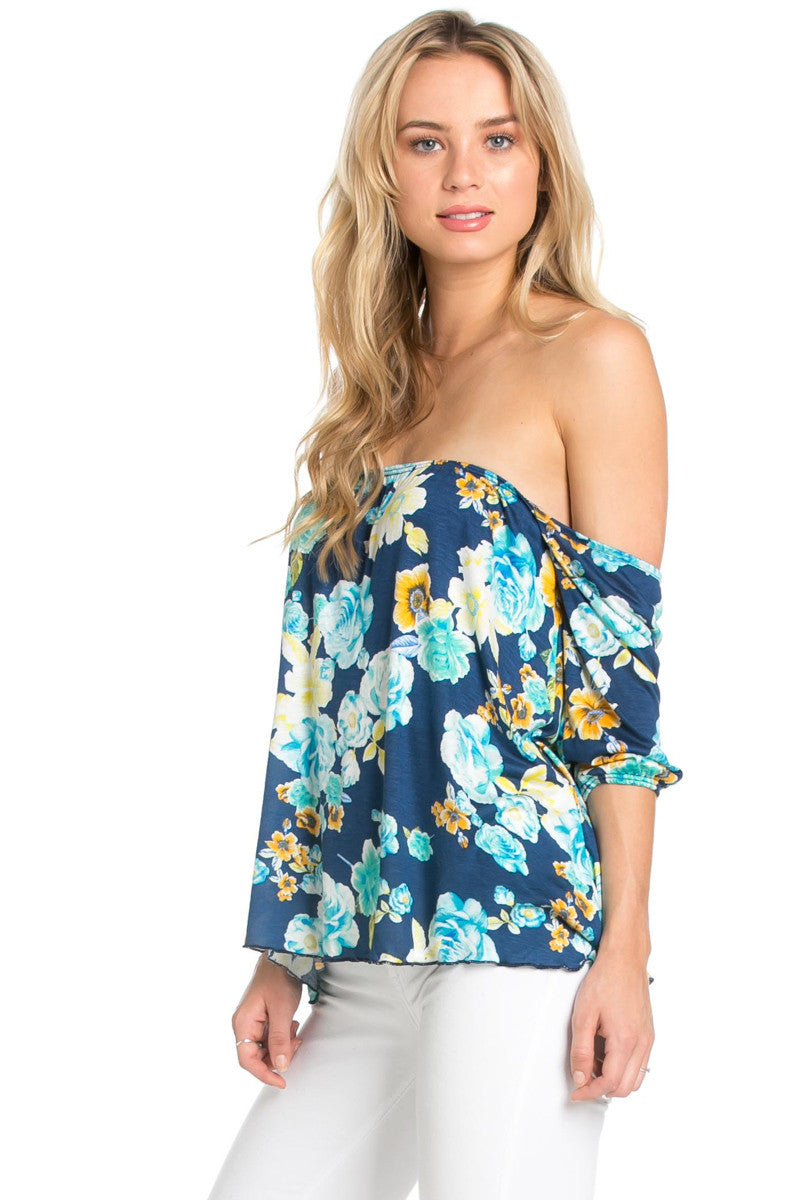 Rosey Print Off the Shoulder Aqua Blouse - Blouses - My Yuccie - 3