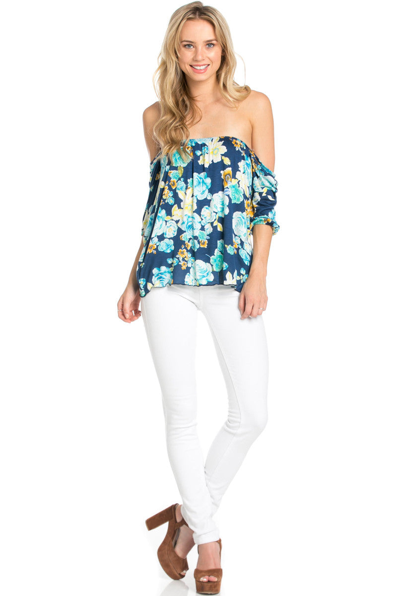 Rosey Print Off the Shoulder Aqua Blouse - Blouses - My Yuccie - 2