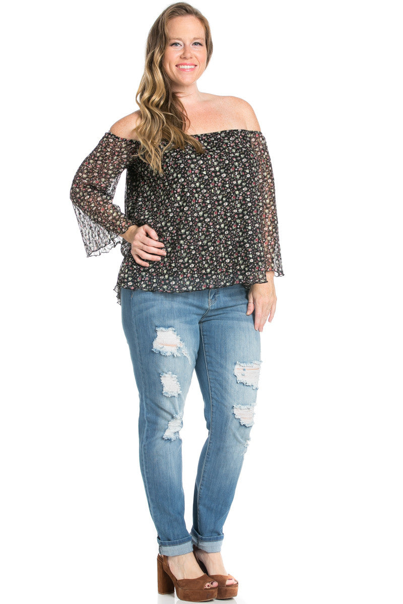 Plus Size Off Shoulder Black Floral Lace Blouse - Blouses - My Yuccie - 2