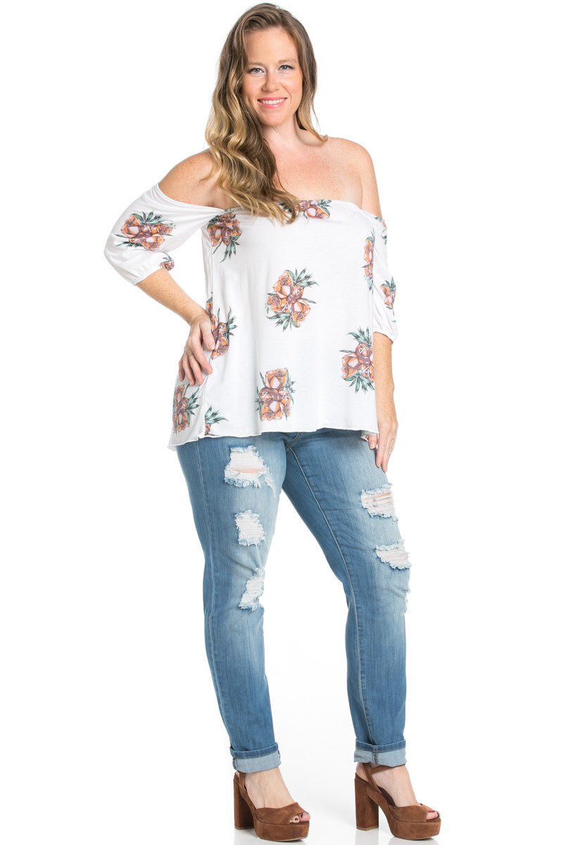 Plus Size Rose Tattoo Off Shoulder Ivory Top - Blouses - My Yuccie - 2